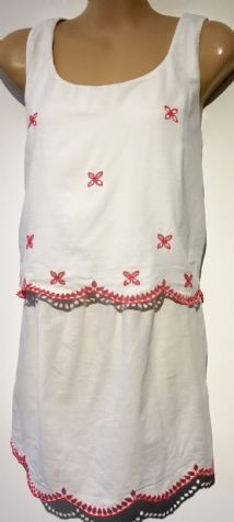 SERAPHINE WHITE LAYERED PINK BRODERIE VEST TOP SIZE 14